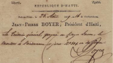 Haitian Presidential Letter